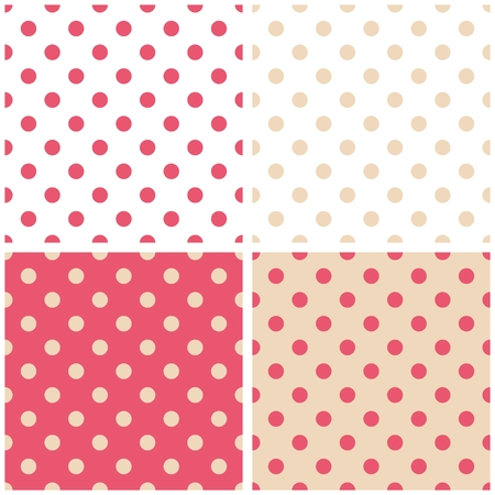 repetition dotted row: Cute pink and beige tile vector pattern set with polka dots on pastel background