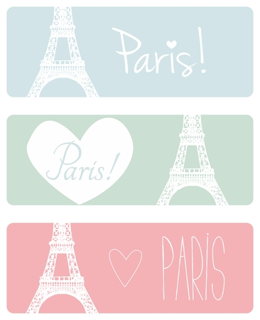 green cute: Love Paris pastel banner vector set with Eiffel Tower and hearts