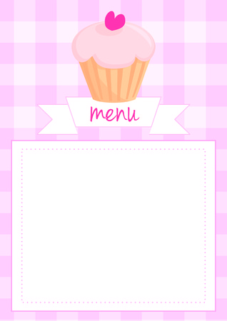 empty space for text: Vector button, restaurant menu card, list or wedding invitation with sweet retro cupcake on pink vintage checkered pattern or grid texture background and empty white space for your own text message. Illustration