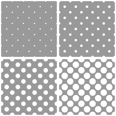 polka dot pattern: Seamless vector white and grey pattern or background set with big and small polka dots. For desktop wallpaper and website design