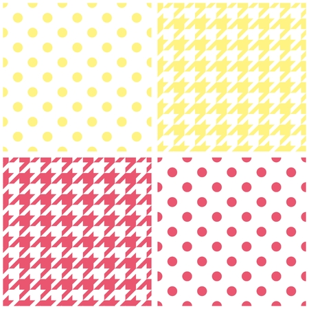 tweed: Houndstooth and polka dots seamless vector pastel yellow, pink and white pattern set. Tweed fashion background with retro sunny tartan woven for summer desktop wallpaper or kids website design Illustration