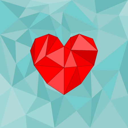 Red vector valentines heart on mint green wrapping surface background Vector