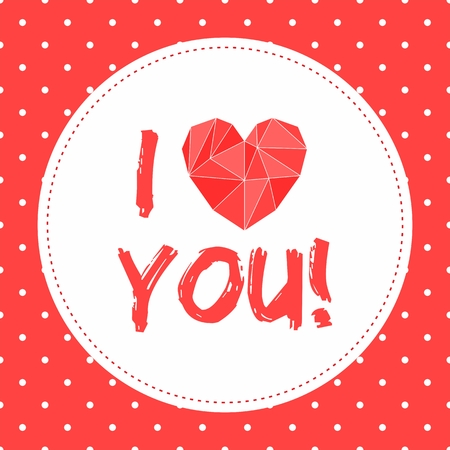 I love you vector valentines card with heart and white polka dots on red background Vector