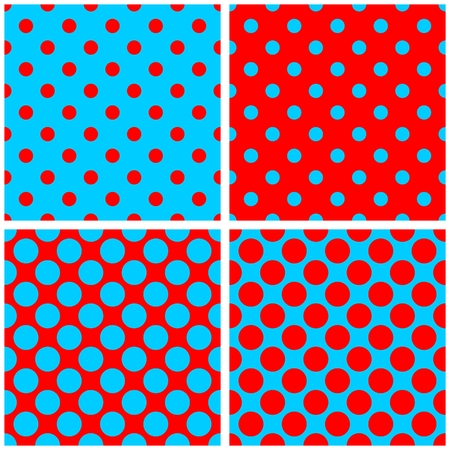 tint: Polka dots vector pattern set or tile background in red and sailor blue color