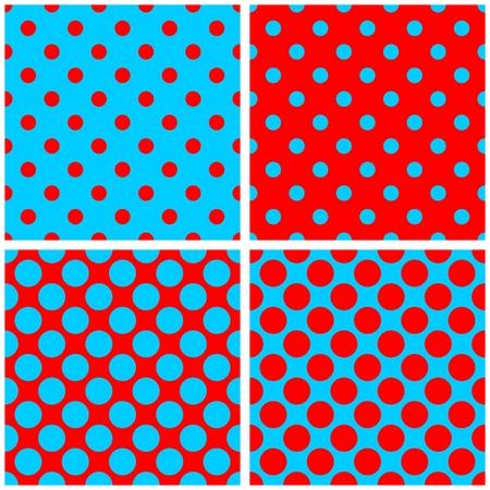 Polka dots vector pattern set or tile background in red and sailor blue color