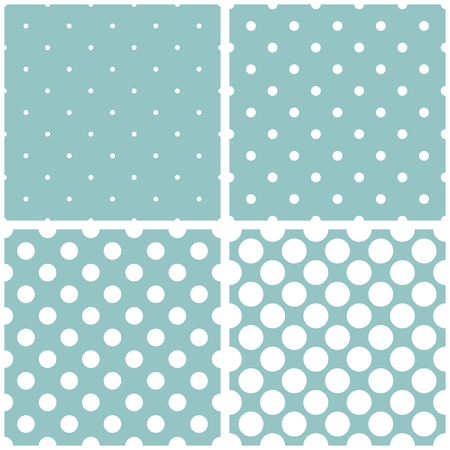 repetition dotted row: Tile vector pattern set with white polka dots on mint blue background