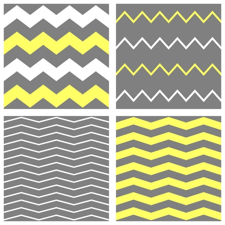 Tile vector chevron pattern set with yellow, white and grey zig zag background Vector