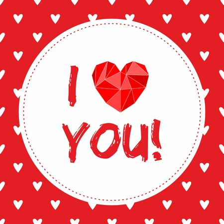 I love you valentines vector card with heart and white hearts on red background Vector