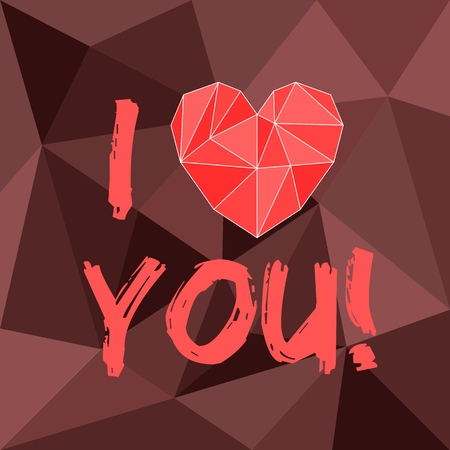 Red valentines vector heart and I love you text on brown wrapping surface background
