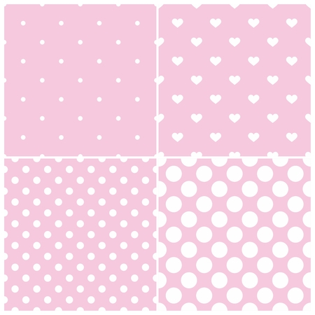 repetition dotted row: Cute pink tile vector pattern set with white polka dots and hearts on pastel background