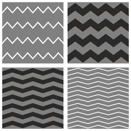 zig: Tile chevron vector pattern set with white, black and grey zig zag background