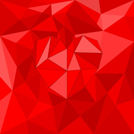 Red valentines heart on red wrapping surface background Vector