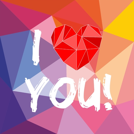 I love you valentines vector card with heart on wrapping surface background