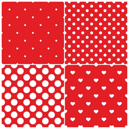 tint: Tile vector pattern set with white polka dots and hearts on red background
