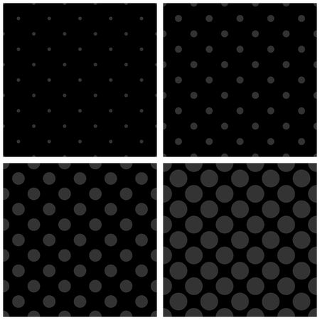 grey pattern: Seamless vector black and grey pattern or tile dark background set with polka dots