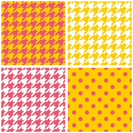 yellow vector: Houndstooth and polka dots seamless pastel yellow, pink and white vector pattern set. Tweed fashion background with retro sunny tartan woven