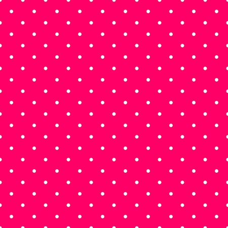 repetition dotted row: Tile vector pattern with small white polka dots on pink background for seamless decoration wallpaper