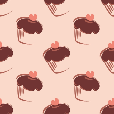 Seamless vector pattern or tile texture with chocolate cupcakes, muffins, sweet cake and pink heart on peach pink background for wallpaper decoration Vector
