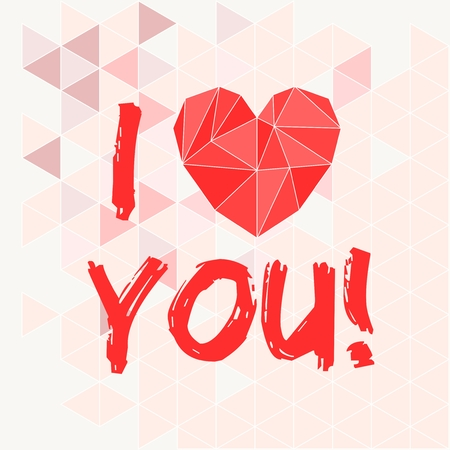 Red valentines or mothers day vector heart and I love you text on pink triangle wrapping surface background Vector