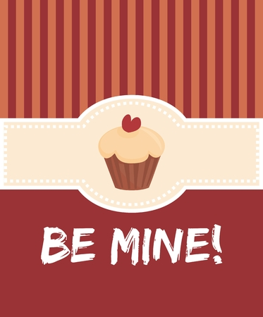 be mine: Be mine valentines vector card with sweet cupcake or red stripes retro background
