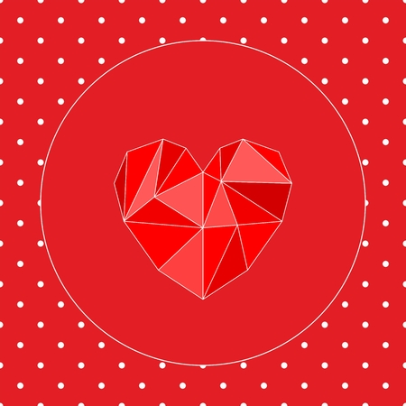 Valentines or mothers day vector card with triangle heart and white polka dots on red background Vector