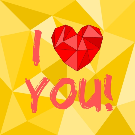 Red valentines or mothers day vector heart and I love you text on yellow wrapping surface background Vector