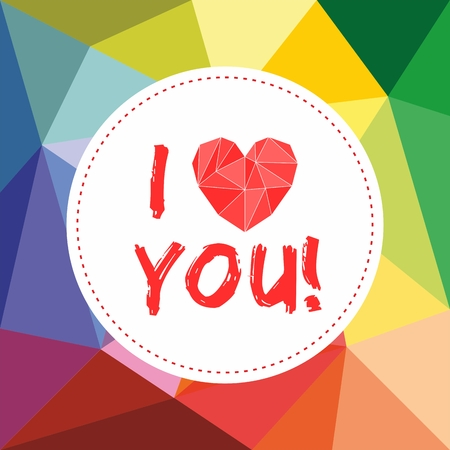 I love you valentines or mothers day vector card with heart on wrapping surface background Ilustração