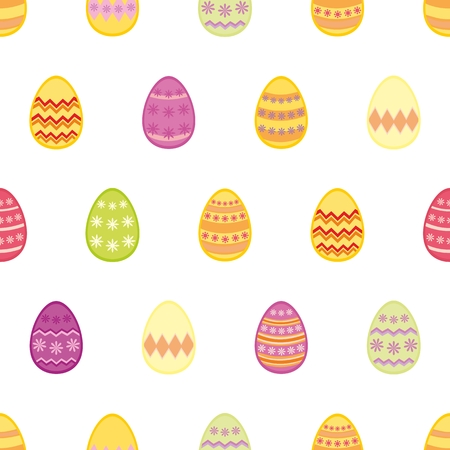 Tile vector pattern with colorful easter eggs on white background for decoration wallpaper Vector