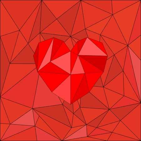 Red valentines vector heart on red wrapping surface background Vector