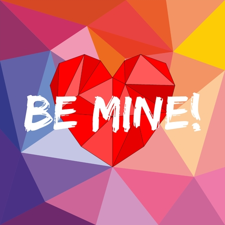 Be mine valentines vector card with heart on wrapping surface background Vector
