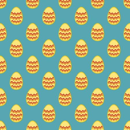Tile vector pattern with easter eggs on mint blue background Vector