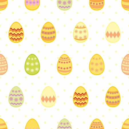 Tile vector pattern with easter eggs on yellow polka dots on white background for seamless decoration wallpaper Vector
