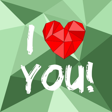 I love you valentines or mothers day vector card with heart on green wrapping surface background