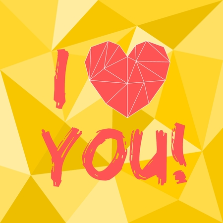 mothers day background: Red valentines or mothers day vector heart and I love you text on yellow wrapping surface background Illustration