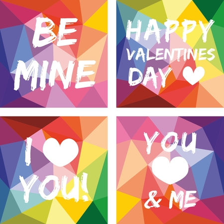 unusual valentine: Valentines day vector set on flat wrapping surface background