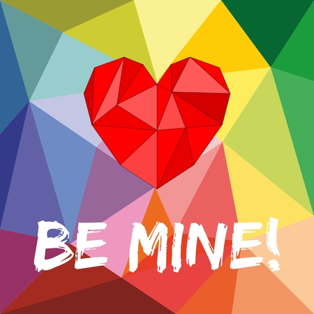 Be mine valentines or mothers day vector card with heart on wrapping surface background Vector