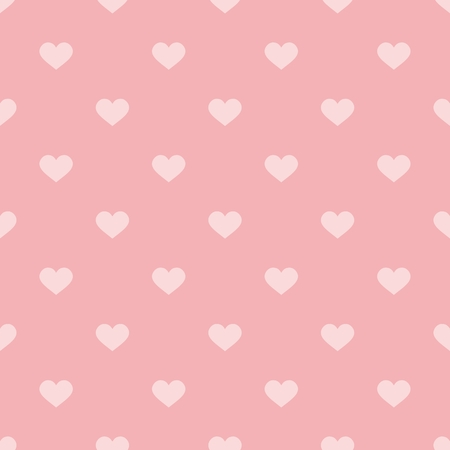 Tile cute vector pattern with pink hearts on pastel background for seamless decoration wallpaper