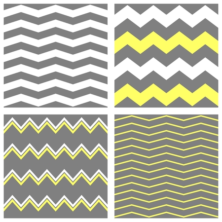 zig zag: Tile chevron vector pattern set with white, grey and yellow zig zag background