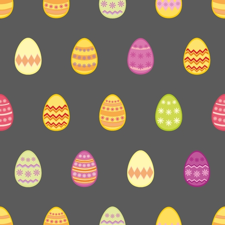 vector eggs: Tile vector pattern with easter eggs on black background for decoration wallpaper Illustration