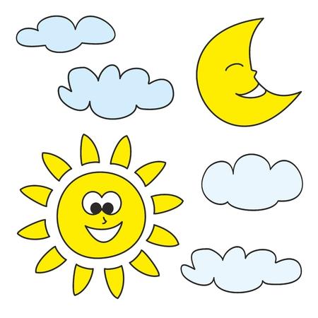 zon en maan: Zon, maan en wolken - weer cartoon iconen vector illustraties op een witte achtergrond voor kinderen kleurboek
