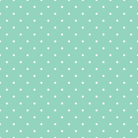 Seamless vector pattern with white polka dots on a retro vintage mint green background. For desktop wallpaper, web design, cards, invitations, wedding or baby shower albums, backgrounds, arts and scrapbooks