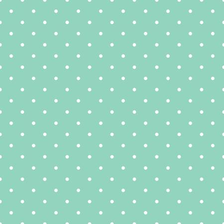 Seamless pattern con pois bianchi su sfondo verde menta epoca retrò. Per lo sfondo del desktop, web design, cartoline, inviti, matrimonio o baby shower album, sfondi, arti e album