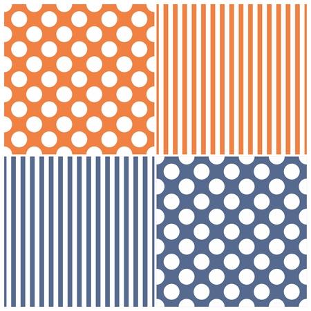 diagonal stripes: Tile vector pattern set with white polka dots and stripes on sailor navy blue and orange background Illustration