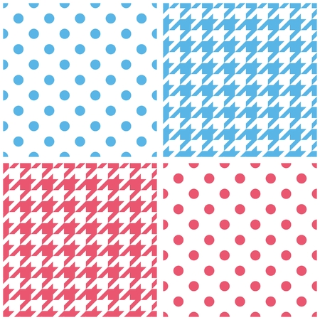 Blue, white and pink tile vector background set. Houndstooth and polka dots seamless pattern collection. Vector