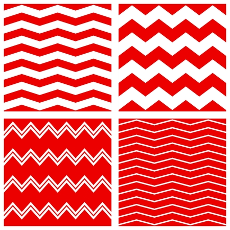 zig zag: Tile vector pattern set with red and white zig zag