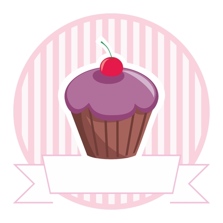 decorated cake: Vector cupcake on stripes background shop icon isolated on white background