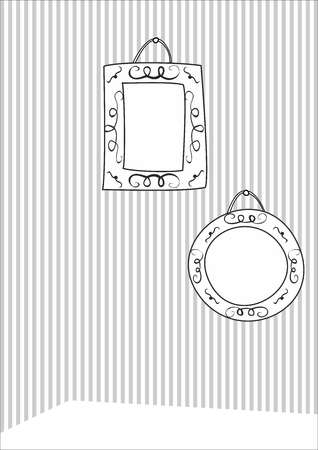 picture frame on wall: Hand drawn decorative vector frames on stripes wall background