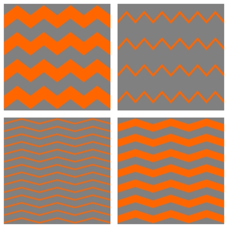 zig zag: Tile chevron vector pattern set with orange zig zag on grey background Illustration