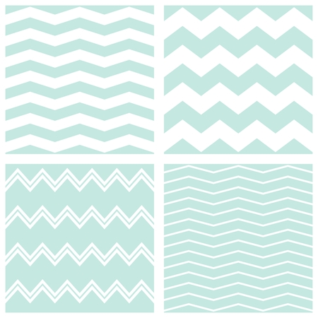 Tile vector chevron pattern set with sailor blue and white zig zag background Vettoriali