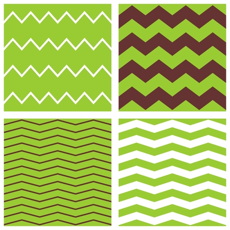 zag: Tile vector pattern with brown, white and green zig zag print background